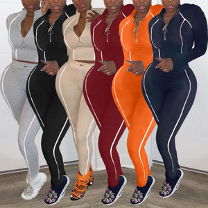 2021 new fashion women's Spring and Autumn popular zipper neck solid color leisure Two-piece sets Long sleeve trousers set Bodysuit clothes