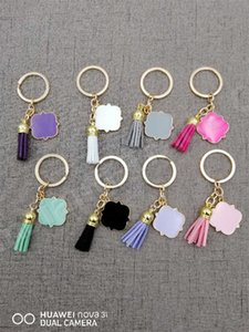العصرية مفتاح سلسلة كيرينغ شخصية فارغة 3 سنتيمتر quatrefoil حرف واحد من جلد الغزال شرابة Keychain A110402