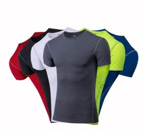 New Quick Dry Compression Men's Short Sleeve T-Shirts Running Shirt Fitness Tight Tennis Soccer Jersey Gym Sportswear