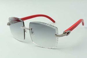 2021 Más nuevos diseñadores de estilo DIAMANTES MEDIO Gafas de sol 3524022, Lente de corte Templos de madera rojos naturales Gafas, Tamaño: 58-18-135mm
