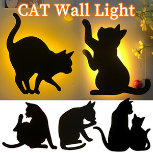 Led Projection Lamp Cat Wall Night Light 3d Sound Control Cat Lights Decoration Children Kids Sleep Romantic Usb Lamp Projection