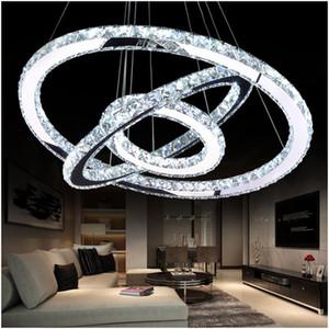 Modern Krom Avize Kristaller Elmas Yüzük LED Kolye Asılı Lamba Paslanmaz Çelik Fikstür Ayarlanabilir İç Aydınlatma