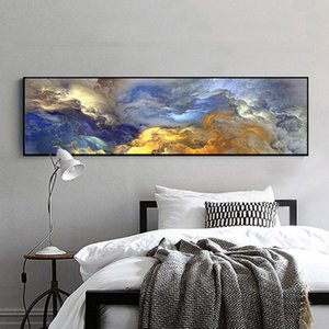 WANGART Abstract Colors Unreal Canvas Poster Blue Landscape Wall Art Painting Living Room Wall Hanging Modern Art Print Painted 110 V2