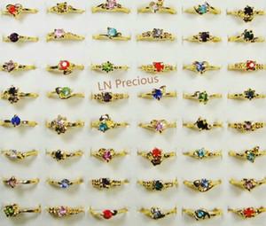 2021 أزياء مزيج الكثير الكلاسيكية أزياء حجر الراين مطلية بالذهب خواتم للنساء والفتيات رخيصة مجوهرات كاملة الكثير LR119 شحن مجاني