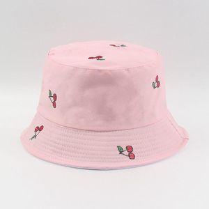 Geniş Brim Şapka Meyve Kiraz Baskı Kap Geri Dönüşümlü Katlanabilir Kova Kadın Erkek Harajuku Siyah İki Taraflı Balıkçılık Balıkçı Şapka # P2