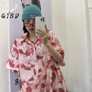 Women's Blouses & Shirts Short Sleeves Women Blouse 2021 Summer Streetwear Harajuku Tie Dye Vintage Casual Korean Fashion TOP Baggy Button U