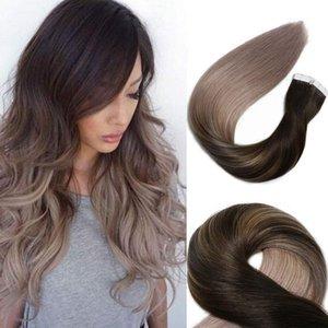 인간의 머리카락 확장에 테이프 옴 브레 레미 테이프 헤어 익스텐션 Balayage Ash Blonde Hair Extensions가있는 중형 갈색으로 가장 어두운 갈색