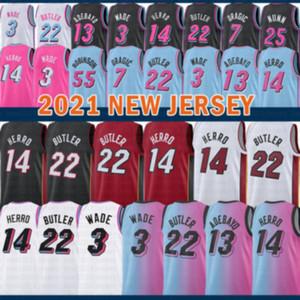 2021 New Dwayne Dwyane 3 Wade Basketball Jersey Jimmy 22 Butler Mens Tyler 14 Herro Bam 13 Adebayo Goran 7 Dragic Kendrick 25 Nunn