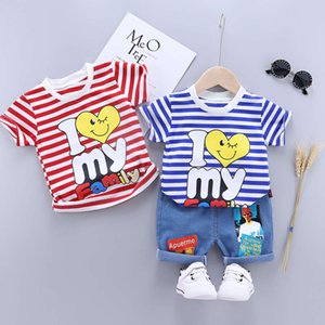 baby Summer Boys' children's stripe love cartoon printed round neck girls' short sleeve suit two piece set for middle and small children