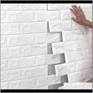 70*77 10Pcs 3D Brick Wall Sticker Diy Self-Adhesive Decor Foam Waterproof Covering Wallpaper For Kids Room Kitchen Stickers Gjume Cmk1R