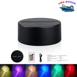 3D 환상 터치 스위치 램프베이스 LED 라이트베이스 LED 야간 조명 홈 장식 축제 선물에 대 한 RGB 원격 컨트롤러와 LED 조명