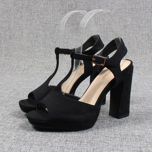 Black Platform Sandals Fashion Womens Shoes 2021 Open Toe High Heels Large Size Suit Female Beige Espadrilles Luxury Peep High-h