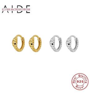 AIDE Mini Hugging Snake Hoop Earrings for Women Punk Exquisite Pierced 925 Sterling Silver Earings Fine Jewelry kolczyki