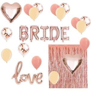 Brautdusche Bachelorette Party Decorations Kit Rose Gold-Set Inklusive Brautfolienballon, Liebesfolienballon