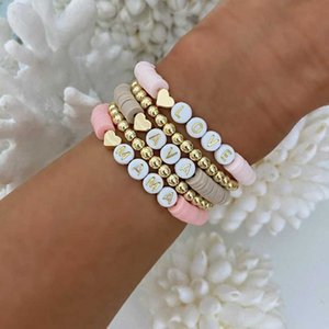 Beaded, Strands Go2Boho 4pcs 5pcs Hematite Heart Bracelets Gold Color Beaded Heishi Bracelet For Women Polymer Clay LOVE MAMA Letter Jewelry