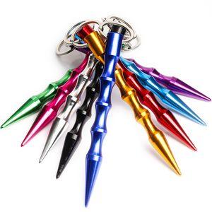 Aluminum Self Defense Keychain Mental Stick Car Keychains Personal Safty Key Chain Charm Car Key Ring 9 Colors DF128