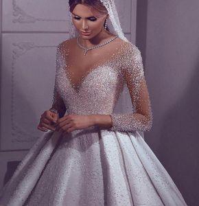 New Custom Made Luxury Arabic Dubai Wedding 2021 Illusion Neck Pearls Beading Long Sleeve Bridal Gowns Robe De Mariee Hy37