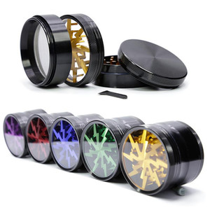 63mm Tobacco Smoking Herb Grinders Four Layers Aluminium Alloy Grinder SharpStone dia have 5 colors With Clear Top Window Lighting