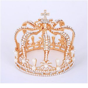 Pearl Queen King Bridal Tiara Kronen für Frauen / Männer Pageant Diadem Braut Party Haarschmuck Hochzeit Haarschmuck Acc Qylfuc