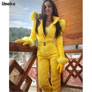 Umeko Silver Winter Hooded Jumpsuits Parka Cotton Padded Warm Sashes Ski Suit Straight Zipper One Piece Women Casual Tracksuits Y200422