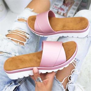 2019 Casual Fish Mouth Flip Flops Shoes Bath Beach Slope Heel Sandals Women Slipper Anti-slip Open Toe Platform Summer Footwear Q0224