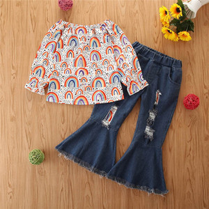 Girls Sets Kids Outfits 2-6Y Rainbow Cotton Long Sleeve Shirts Denim Jeans Flared Trousers 2Pcs Children Suit Girls Clothes B4134