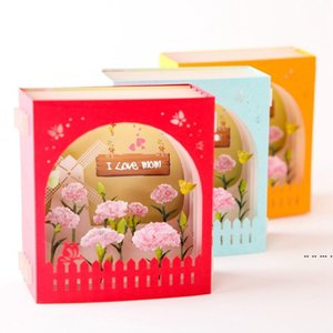 Mother's Day Greeting Card 3D Pop-Up Hollow Paper Carving Carnation Flowers Mother's Day Teacher's Day Greeting Cards FWA3906