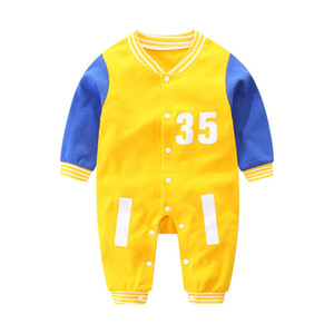 Autumn Newborn Baby Ins Boys Rompers Designer Kids Stripes Lapel Long Sleeve Jumpsuits Infant Girls Letter 100% Cotton Romper Boy Clothing