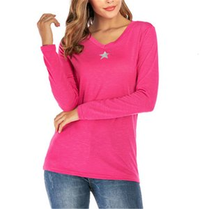 Female Winter Tee Tops Star Autumn Clothing V-neck Knitted Womens Long Sleeve T-shirt Fashion Desinger Five-pointed