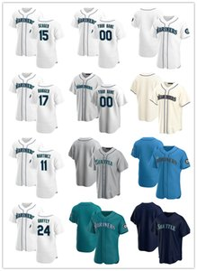 Özel Jersey Erkek Kadın GençlikSeattleMariner11 Edgar Martinez 24 Ken Griffey Jr. 17 Mitch Haniger 15 Kyle Seerj Beyzbol Formaları Beyaz