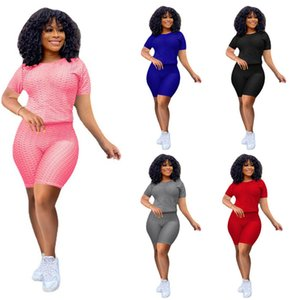 Women casual Tracksuit solid color 2 piece sets summer clothes sports jogger suit short sleeve t shirt+mini shorts high stretch outfits 4487