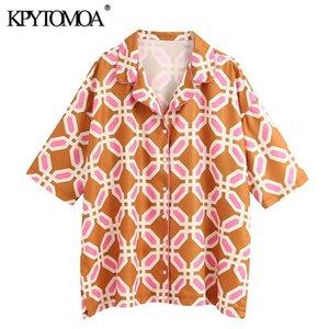 Kpytomoa Frauen 2021 Mode Geometrische gedruckte Lose Blusen Vintage Revers Kragen Kurzarm Seitenlüftungsöffnungen Weibliche Hemden Chic Tops