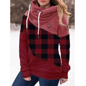 2020 women's Plaid stitched Hoodie