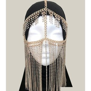 Face Veil Tribal Fashion Golden Chandelier Face Chain Harness Jewelry Headdress Luxury Crystal Paved Head Chain Facemask Chain For Rzlmq