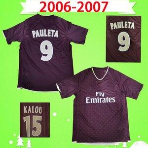 2006 2007 축구 유니폼 레트로 06 07 클래식 레드 파리 멀리 빈티지 축구 셔츠 # 25 othen # 15 Kalou # 9 Pauleta Maillot de Foot