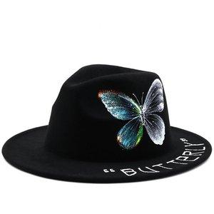 Fedoras da uomo Fedoras maschile dipinto a mano farfalla piatta a corn top cappello cappello jazz cappello jazz coppia di lana top per uomo donna benna