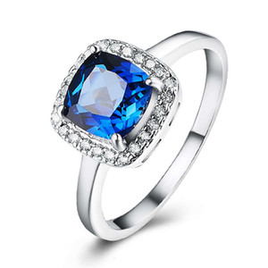 HBP fashion luxury square * 7 blue zircon temperament women's Diamond Classic four claw simple ring
