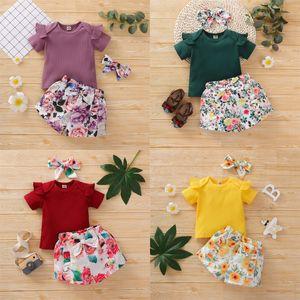 Baby Girl Clothes Sets Solid Short Sleeve Romper Flower Shorts Headband 3Pcs Set Summer Designer Infant Boutique Kids Clothing 3276 Q2
