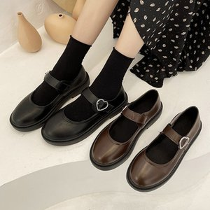 Lolita Shoes Heart Buckle Mary Janes Shoes Leather Women Flats Shallow Girls Casual Shoes Black Brown mujer Spring 8948N