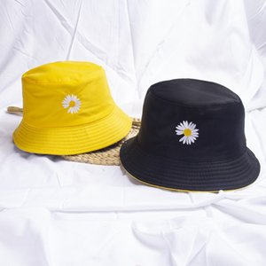 Bucket Hat Childrens Daisy Double-Sided Sweet Cute Version Sun-Proof Student Versatile Sun-Proof Sun Net Red Bucket Hat