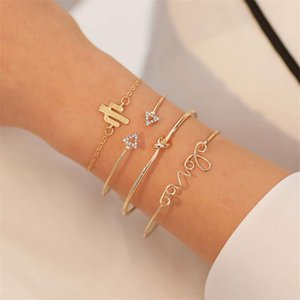 Jewelry simple love inlaid with diamond cactus 4-piece bracelet set for women