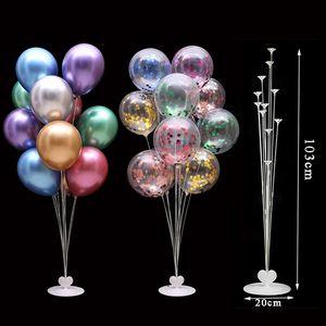 7  11 19tubes Balloon Holder Column Balloons Stand Stick Balons Birthday Party Decorations Kids Wedding Christmas Decor Supplies