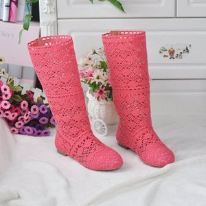 2018 Hollow Boots Shoes Breathable Knit Line Mesh Korean High Summer Women Boots Knee High Womens Shoes 21lZ#