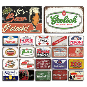 2021 Beer Metal Plaque Signs Vintage Peroni Bacardi Metal Poster Decorative Sign Retro Bar Pub Decor Metal Plates Man Cave Home Wall Deco