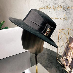 French D House Brand Rhinestone Wool Top Hat Autumn Winter Women Catwalk Style Fisherman Hat British Flat Top Black Bucket
