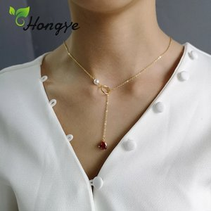 Hongye Girls Silver 925 Gold Color Elegant Red Crystal Collar Accessories Brand New 1 Piece Chain Thin Shell Pearl Necklaces Q0127