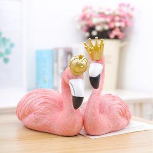 Toptan 1 ADET Nordic Reçine Flamingo Craftwork Figürinler Ev Dekorasyonu Reçine Donanım Makaleleri Reçine Flamingo El Sanatları