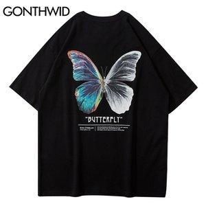 Gonthwid Streetwear Tees Shirts Papillon Imprimé à manches courtes T-shirts occasionnels Hip Hop Hook Hook Hook à manches courtes T-shirts en vrac Tops C0315