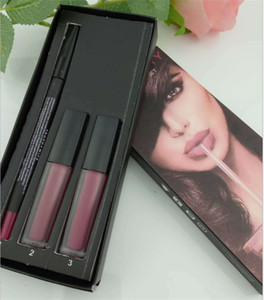 Limited SALE!!! Hot Beauty makeup Brand Beauty 3in1 Lipstick set 2pcs liquid lipstick+1pc lipliner High quality