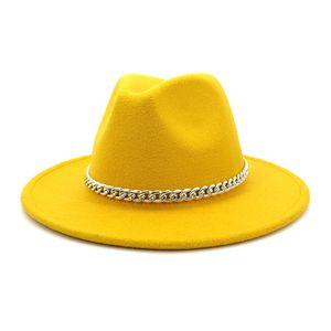 Chapeau de Fedora Fedora de haute qualité Large Fedora Chapeau de laine Fedora de laine avec la décoration de la chaîne en métal 142 T2